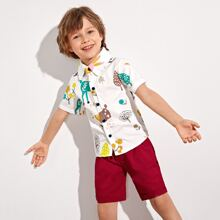 Toddler Boys Cartoon Graphic Shirt & Shorts