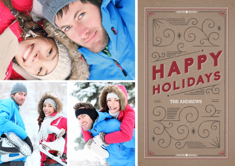 Holiday Photo Cards Flat Matte Photo Paper Cards with Envelopes, 5x7, Card & Stationery -Holiday Scrollwork