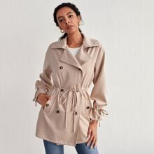 Double Button Drawstring Waist Trench Coat