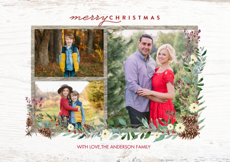 Christmas Photo Cards 5x7 Cards, Premium Cardstock 120lb, Card & Stationery -Christmas Frame Foliage by Tumbalina