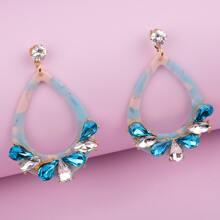Rhinestone Water Drop Earrings