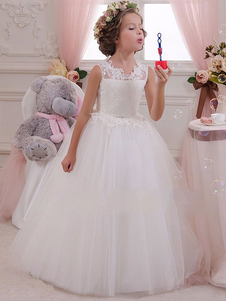 Milanoo White Flower Girl Dresses Tutu Lace Rhinestones Bow Tulle Kids Party Dresses