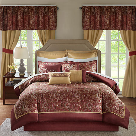 Madison Park Essentials Cadence 24-Pc Comforter Set, One Size , Red