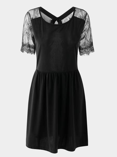 Yoins Black Crochet Lace Insert Embellished Plain Round Neck Mini Dress