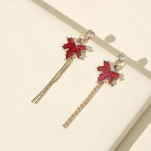 Rhinestone Leaf Drop Earrings