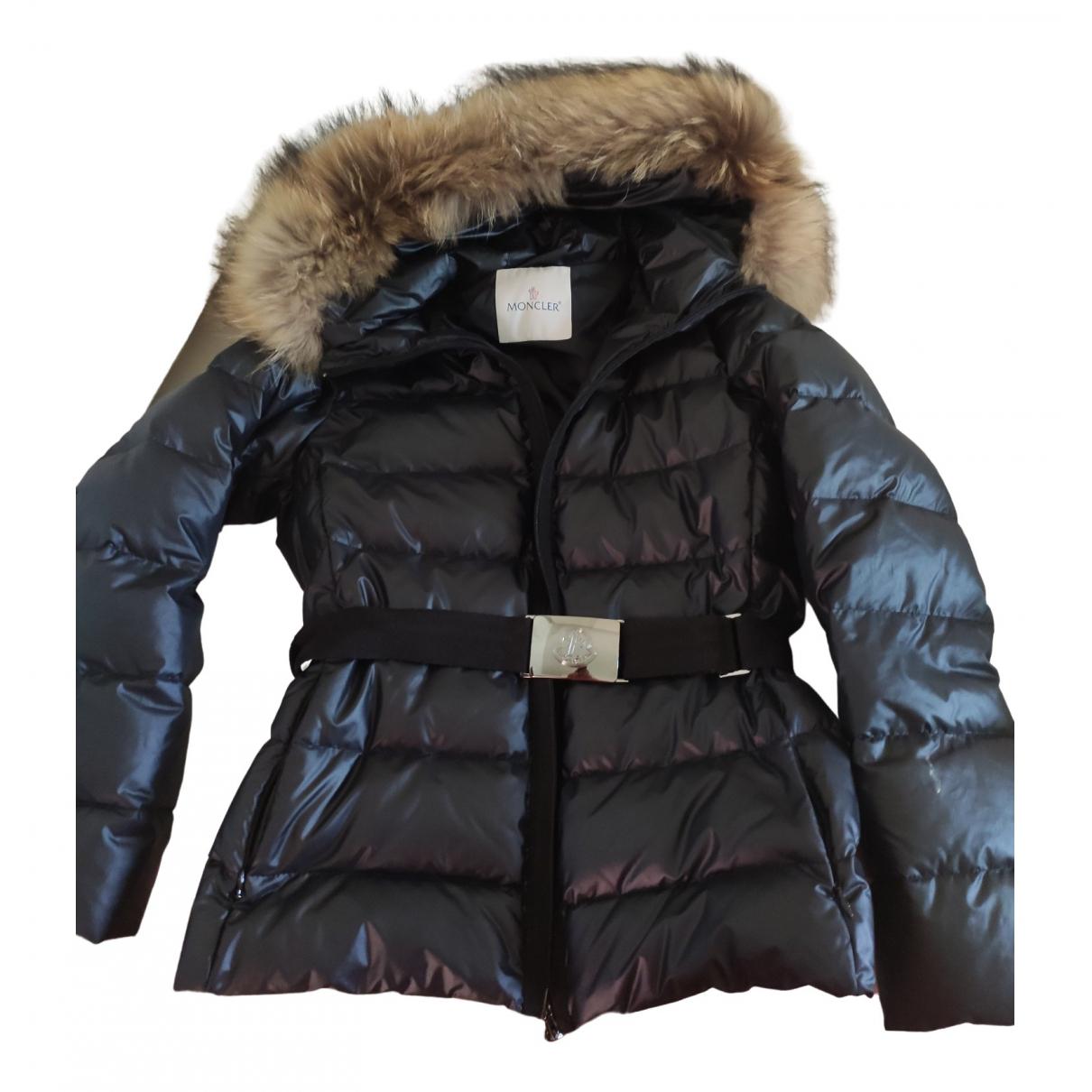 Moncler Hood Black coat for Women 42 FR
