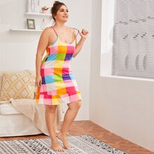 Plus Ruffle Hem Colorful Plaid Cami Dress
