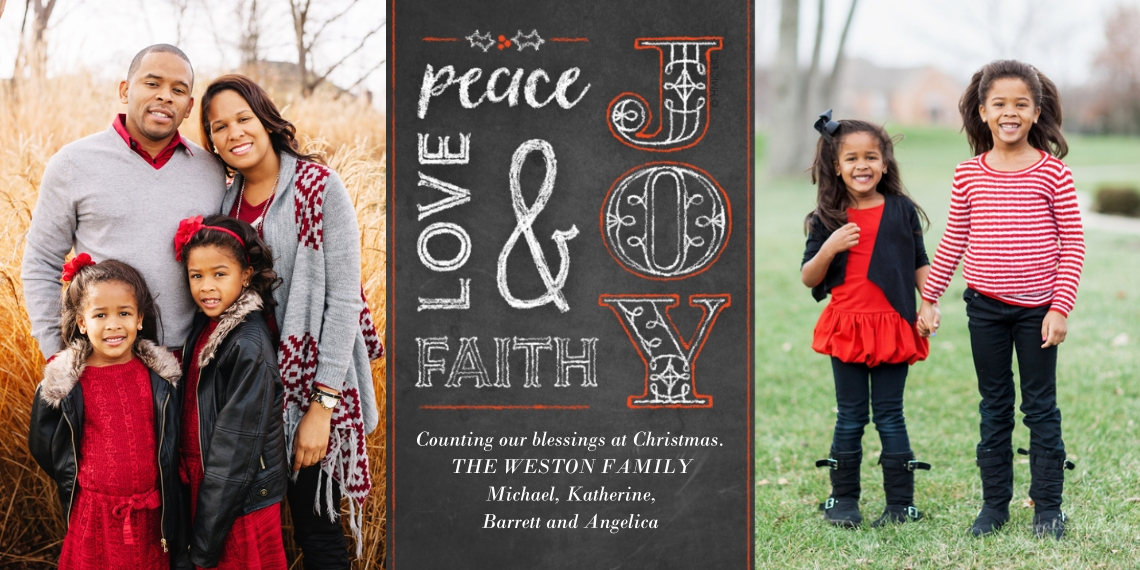 Christmas Photo Cards Flat Matte Photo Paper Cards with Envelopes, 4x8, Card & Stationery -Peace, Joy, Love & Faith