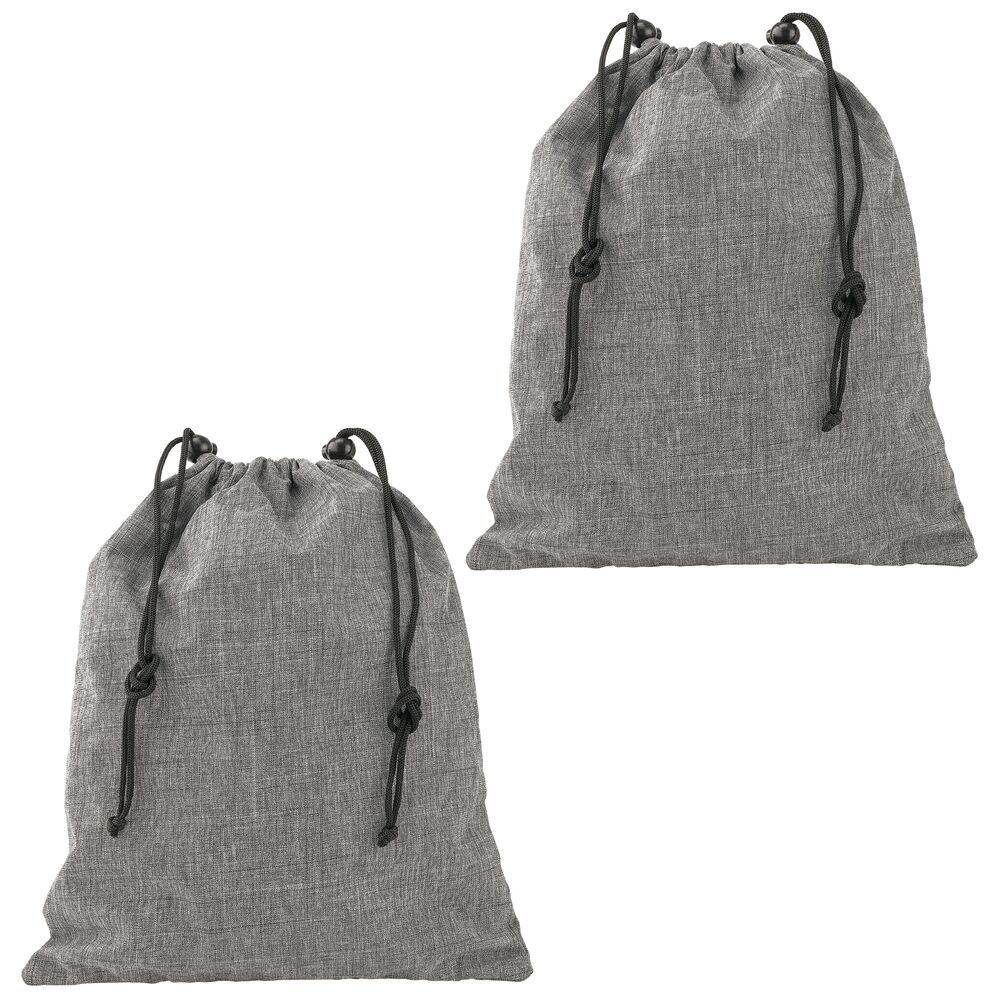 Fabric Drawstring Travel Bag in clear/black, by mDesign