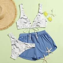 3pack Ribbed Marble Pattern Bikini Swimsuit