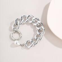 Brazalete con cadena con perla artificial