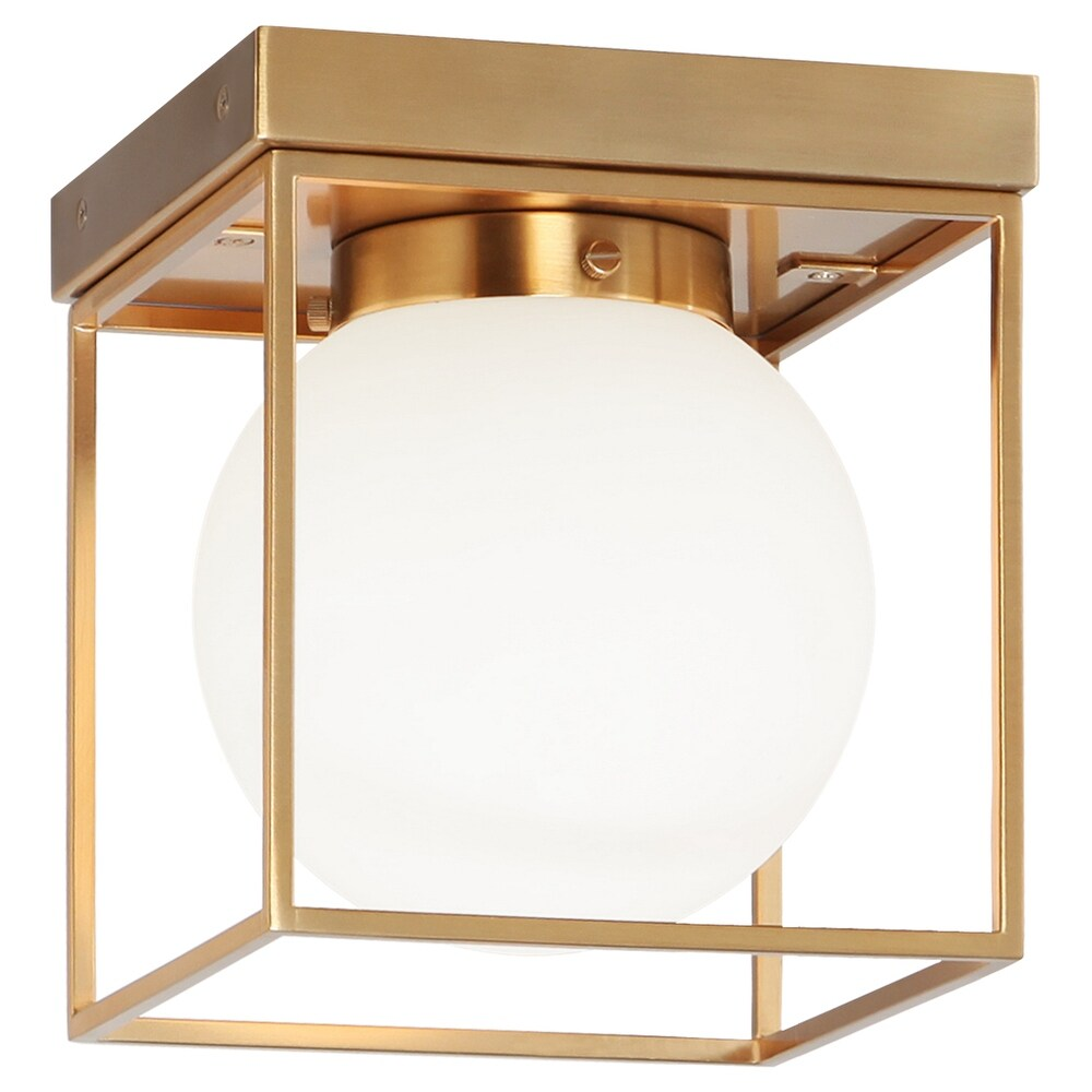 Matteo  X03801AG One Light Flush Mount Squircle Aged Gold Brass - One Size (One Size - Clear)