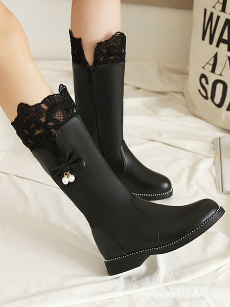 Milanoo Lolita Boots Lace Bows Flat Round Toe PU Leather Lolita Shoes