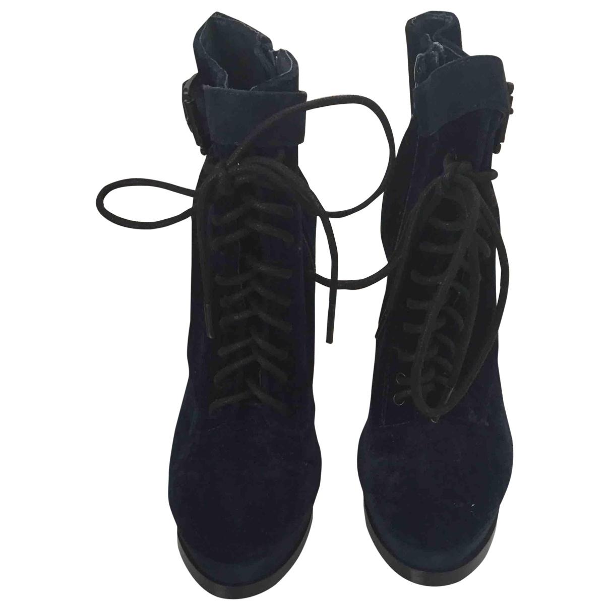 tophop \N Navy Velvet Ankle boots for Women 36 EU