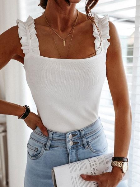 Milanoo Summer Cami Top Casual Cotton Blend Women Camis