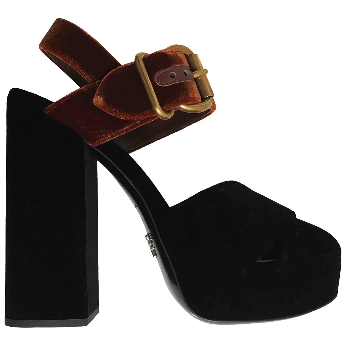 Prada - Sandales   pour femme en velours - noir