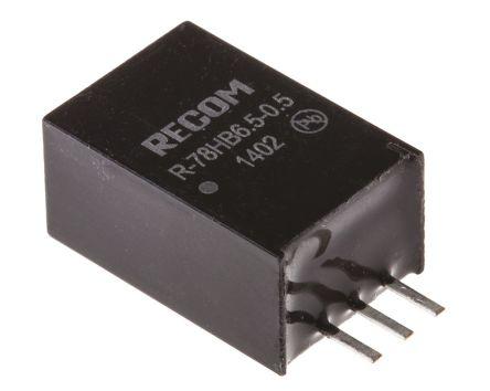 Recom Through Hole Switching Regulator, 6.5V dc Output Voltage, 9 → 72V dc Input Voltage, 500mA Output Current