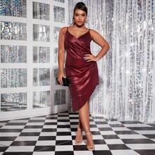 Plus Metallic Surplice Ruched Asymmetrical Cami Dress
