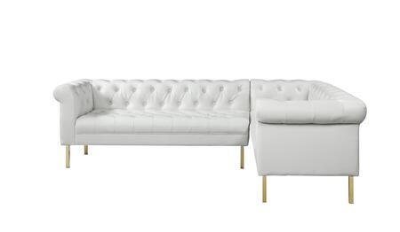 Noah Collection FSA9229-AC 104 Right Facing Sectional Sofa with Metal Material  Foam Filled Cushion and PU Leather Upholstery in Cream