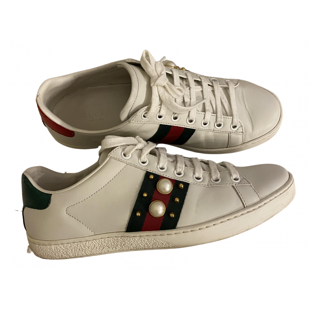 Gucci Ace White Leather Trainers for Women 37.5 EU