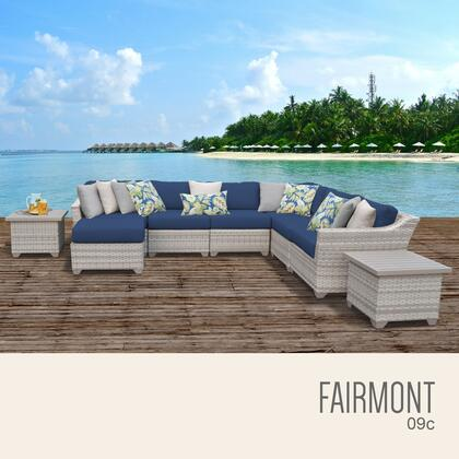 FAIRMONT-09c-NAVY Fairmont 9 Piece Outdoor Wicker Patio Furniture Set 09c with 2 Covers: Beige and