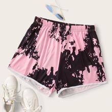 Plus Tie Dye Elastic Waist Shorts