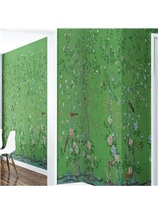 3D Green Background with Plants Printed PVC Sturdy Waterproof Eco-friendly Self-Adhesive Wall Mural