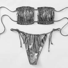 Snakeskin Metallic Frill Bandeau Tie Side Bikini Swimsuit