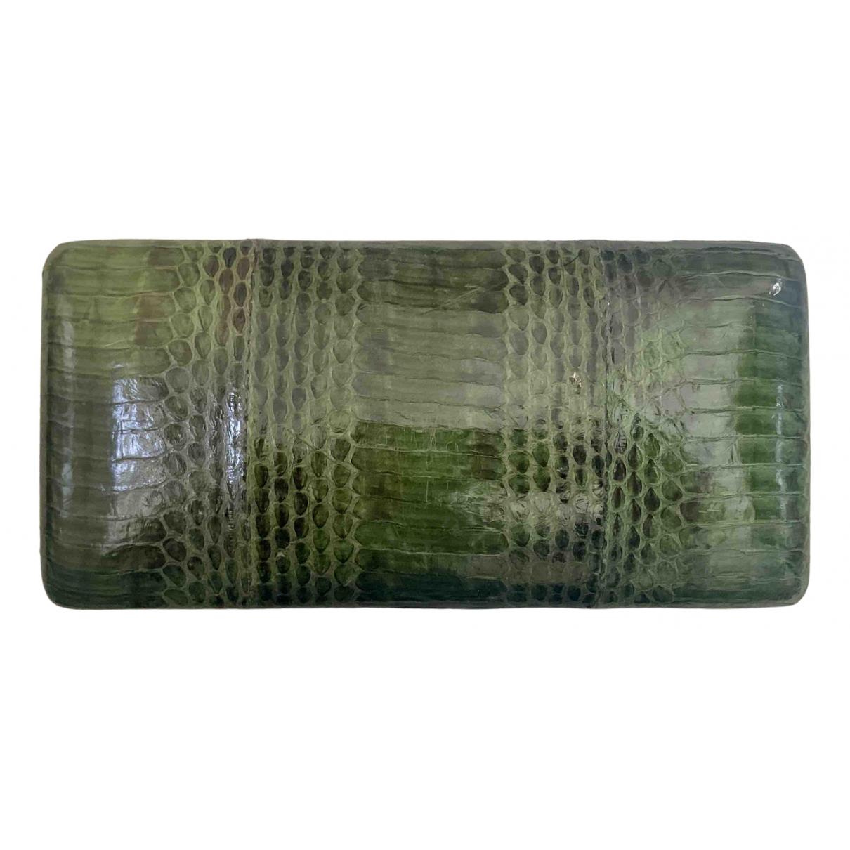 Kotur - Pochette   pour femme en serpent deau - vert