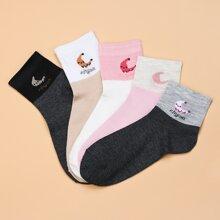 5pairs Cartoon Graphic Socks