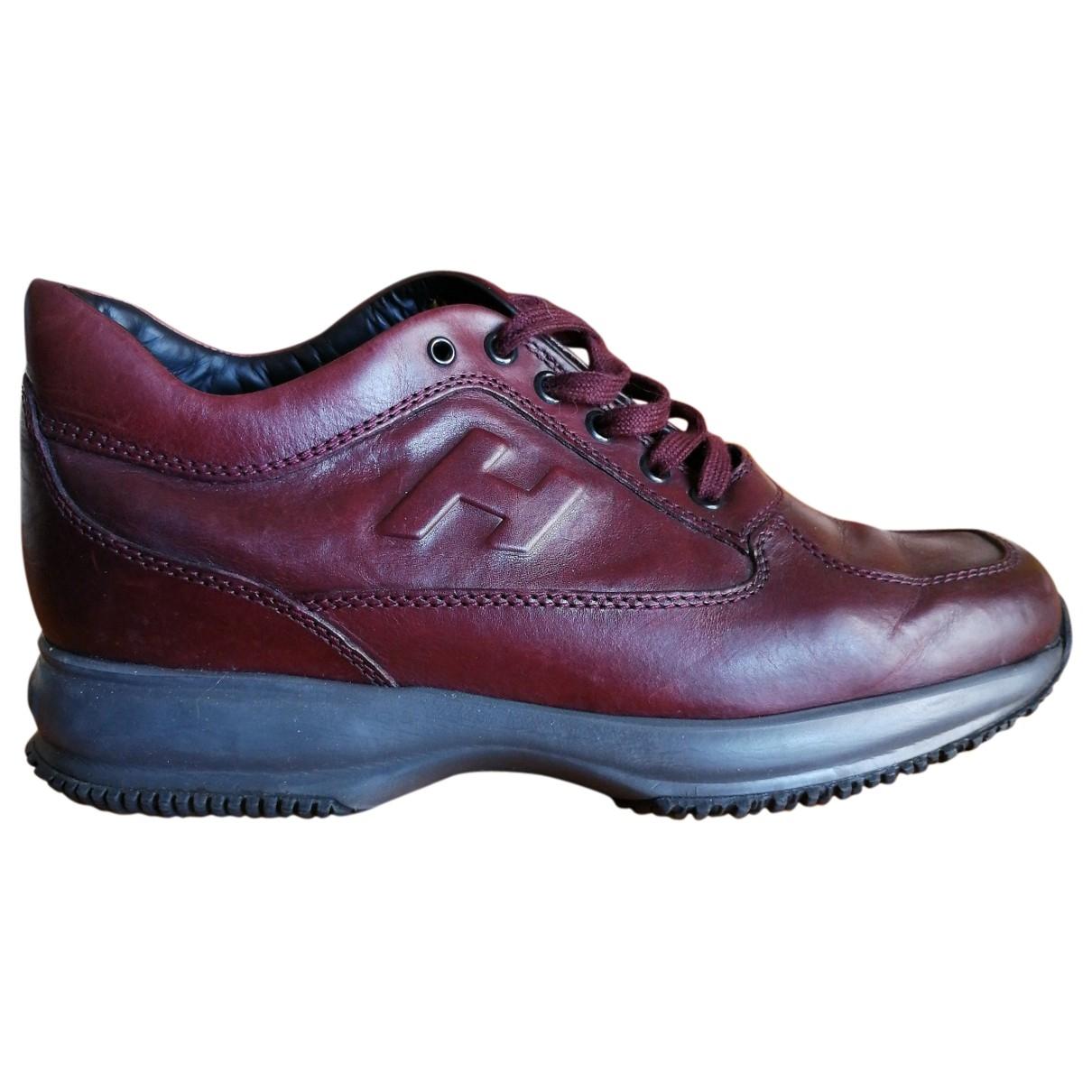 Hogan \N Sneakers in  Bordeauxrot Leder