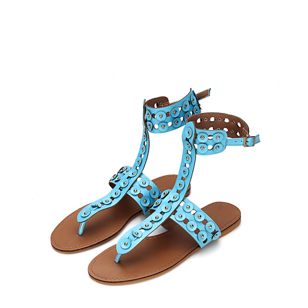 Yoins Blue T-bar Design Silver-tone Studding Open Back Flat Sandals