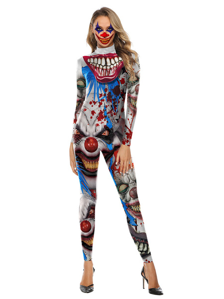 Milanoo Halloween Costumes Light Gray Women\\s Scary Leotard Jumpsuit Polyester 3D Print Jumpsuit Holidays Costumes