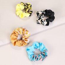 4pcs Flower Pattern Scrunchie