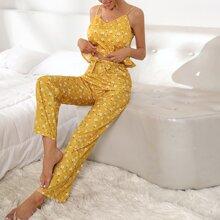 Cami Schlafanzug Set mit Blumen Muster und Knoten