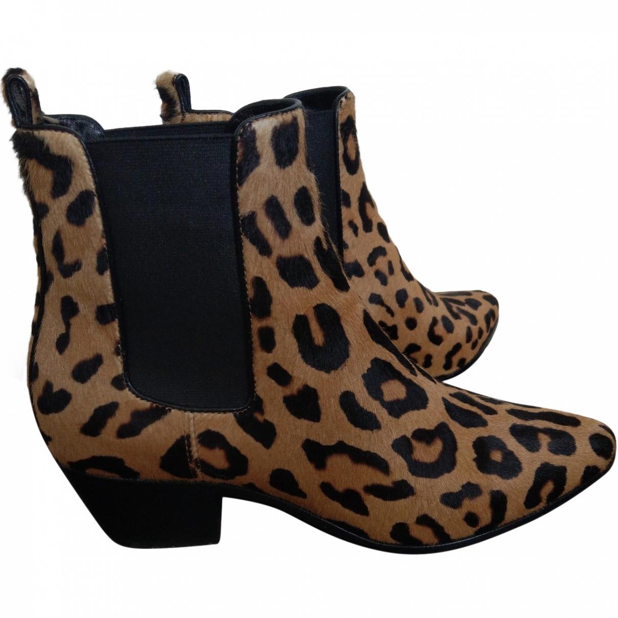Saint Laurent \N Beige Pony-style calfskin Ankle boots for Women 36 EU