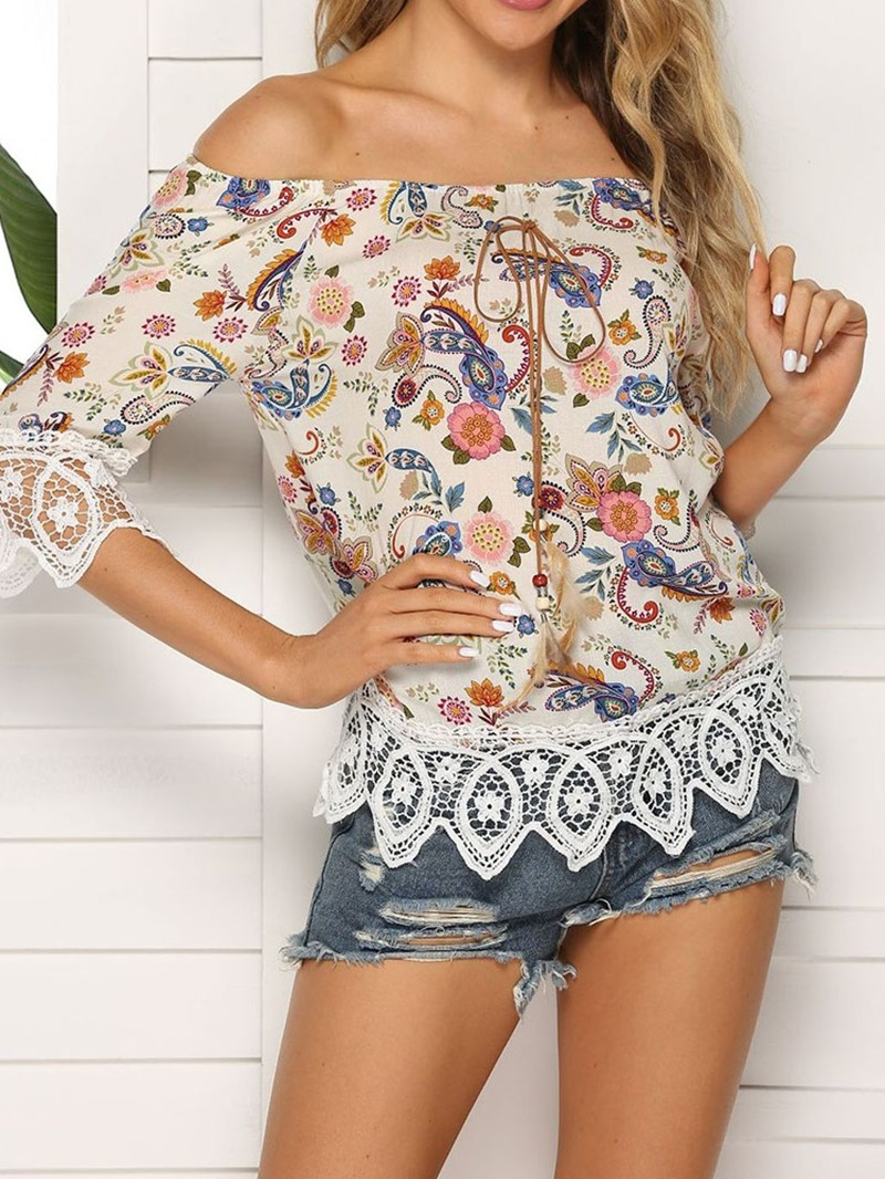 Ericdress Color Block Off Shoulder Patchwork Lace Fashion T-Shirt