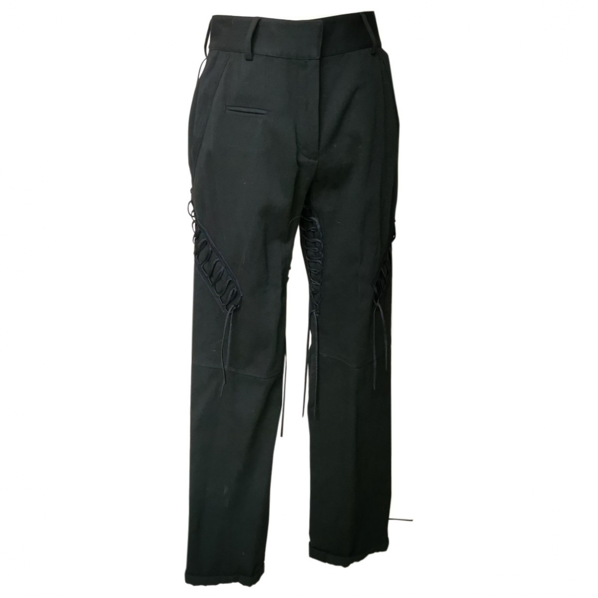 Saint Laurent \N Black Cotton Trousers for Women 36 FR