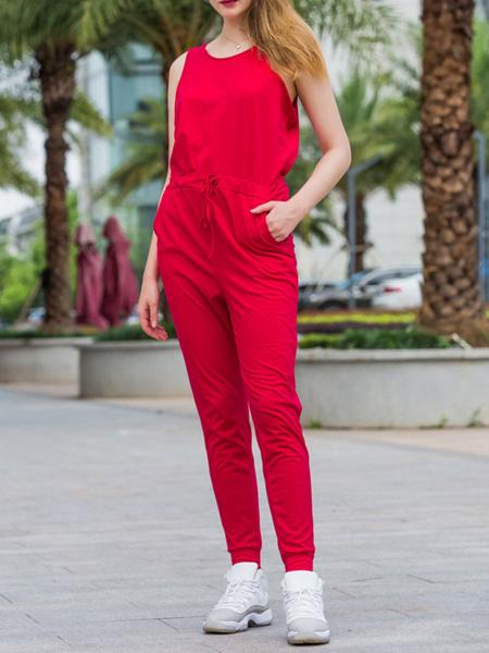 Milanoo Jumpsuit de mujer Jewel Neck sin mangas Summer Jumpsuit