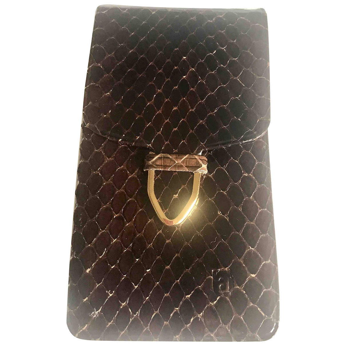 Non Signé / Unsigned \N Brown Python Purses, wallet & cases for Women \N