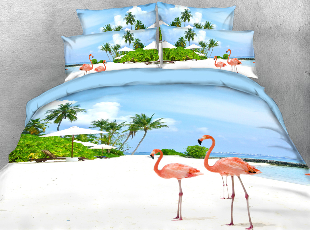 Flamingo 3D Animal Zipper 4pcs Bedding Sets No-fading Soft Reactive Printing Duvet Cover with Ties