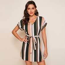 Batwing Sleeve Self Belted Striped Dress
