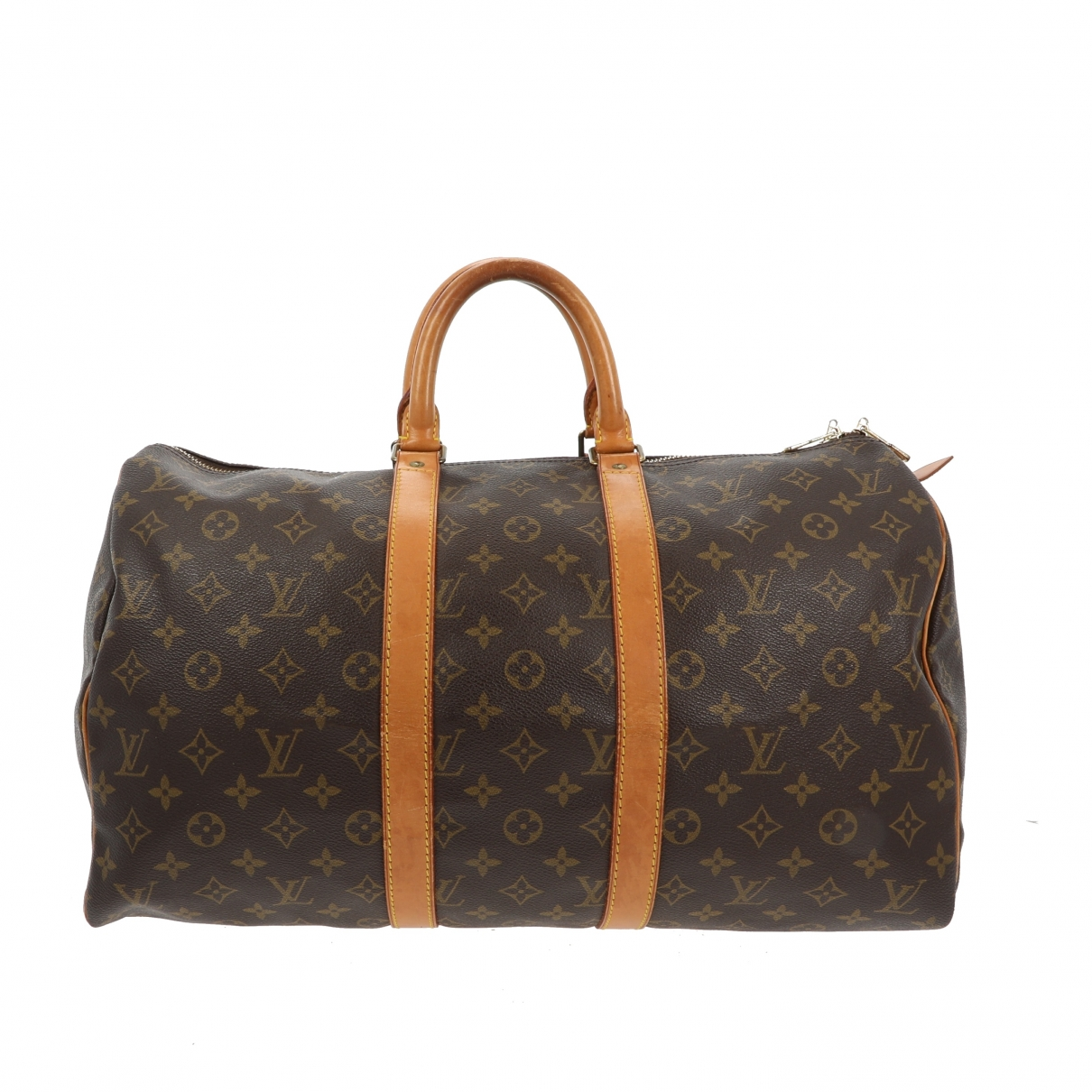 Louis Vuitton Keepall Reisetasche in  Braun Leinen