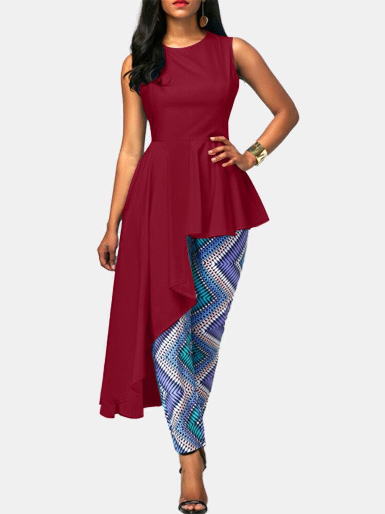 Irregular Asymmetrical Solid Color O-neck Sleeveless Shirt For Women