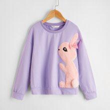 Girls Bow Detail Teddy Rabbit Embroidered Sweatshirt