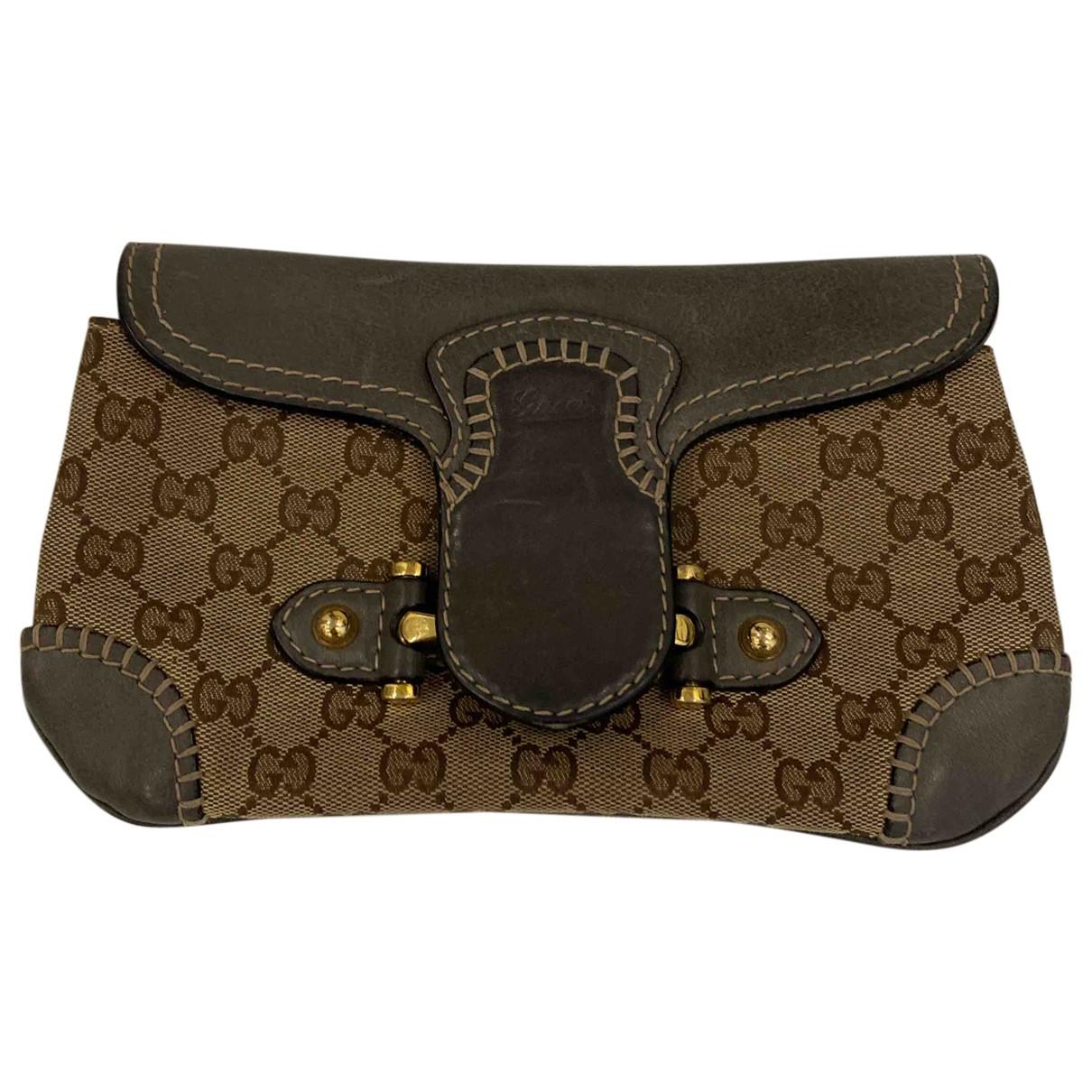 Gucci Guccy clutch Clutch in  Braun Leinen