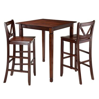 94378 Kingsgate 3-Pc Dining Table with 2 Bar V-Back Chairs in Antique Walnut
