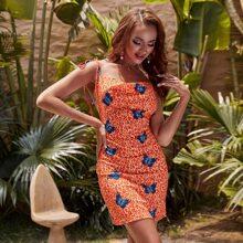 Glamaker vestido de verano con mariposa de leopardo de cuello desbocado con tira con nudo