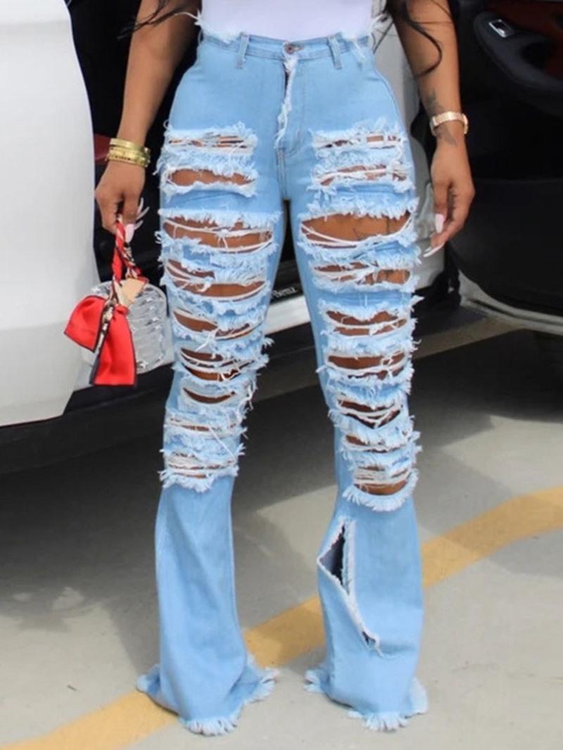 Ericdress Bellbottoms Hole Plain Slim Zipper Jeans