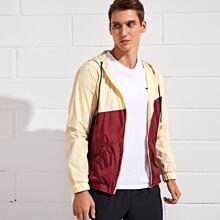 Guys Two Tone Drawstring Hooded Sports Jacket